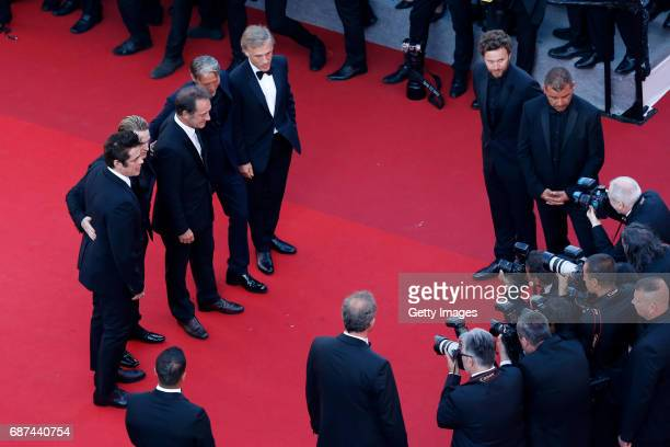 Actors Benicio del Toro Benoit Magimel Vincent Lindon Mads Mikkelsen and Christoph Waltz attends the 70th Anniversary of the 70th annual Cannes Film...