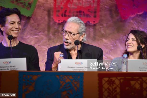 Actors Benjamin Bratt Edward James Olmos and Alanna Ubach at the Global Press Conference for DisneyPixar's Coco at The Beverly Hilton Hotel on...
