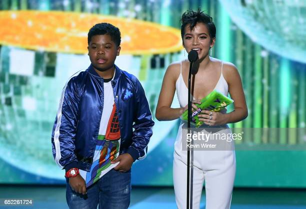 Actors Benjamin Flores Jr and Isabela Moner speak onstage at Nickelodeon's 2017 Kids' Choice Awards at USC Galen Center on March 11 2017 in Los...