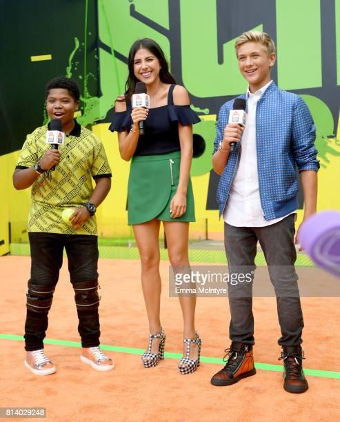 Actors Benjamin Flores Jr Daniella Monet and Thomas Kuc attend Nickelodeon Kids' Choice Sports Awards 2017 at Pauley Pavilion on July 13 2017 in Los...