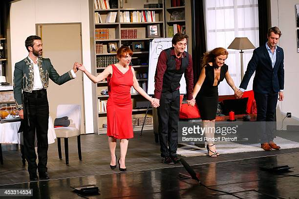 Actors Benjamin Gauthier Noemie de Lattre Pierre Palmade AnneElisabeth Blateau and Joffrey Platel during the traditional throw of cushions at the...