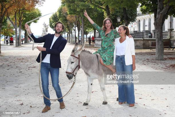 "Actors Benjamin Lavernhe, Laure Calamy and director Caroline Vignal attend the ""Antoinette Dans Les Cevennes"" Photocall at 13th Angouleme..."