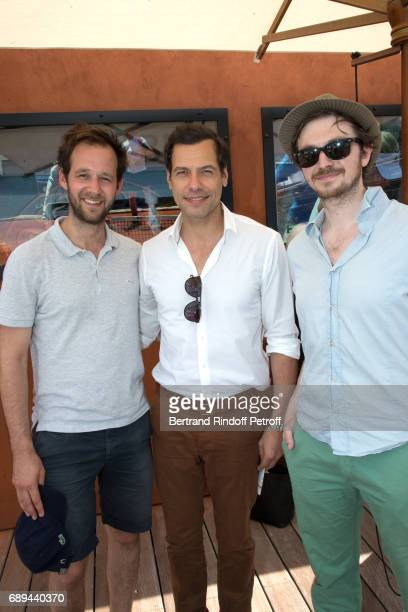 Actors Benjamin Lavernhe Laurent Lafitte and Yannik Landrein attend the 2017 French Tennis Open Day One at Roland Garros on May 28 2017 in Paris...