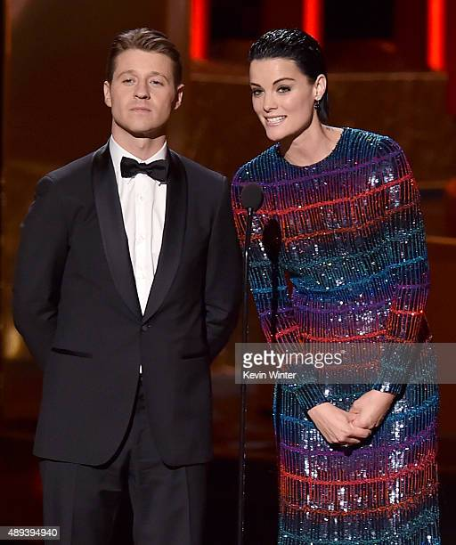 Actors Benjamin McKenzie and Jaimie Alexander speak onstage during the 67th Annual Primetime Emmy Awards at Microsoft Theater on September 20 2015 in...