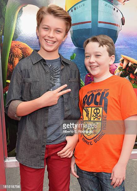 Actors Benjamin Stockham and Jacob Hopkins arrive to the premiere of Columbia Pictures and Sony Pictures Animation's Cloudy With A Chance of...