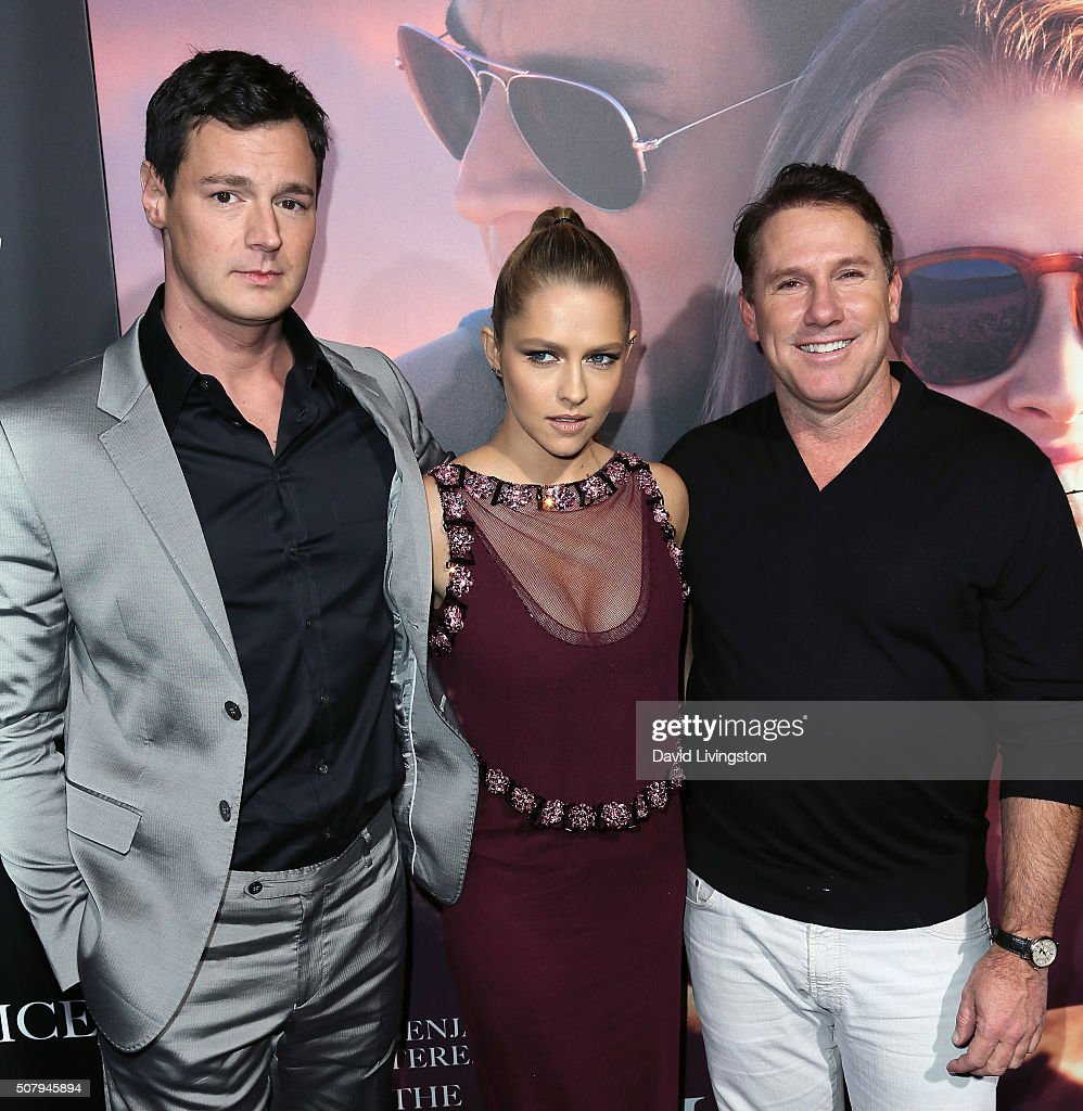 Actors Benjamin Walker and Teresa Palmer and writer Nicholas Sparks attend the premiere of Lionsgate's 'The Choice' at ArcLight Cinemas on February 1, 2016 in Hollywood, California.