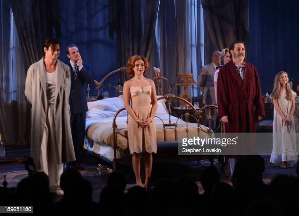 Actors Benjamin Walker Scarlett Johansson and Ciaran Hinds attend the curtain call for the Cat On A Hot Tin Roof Opening Night at Richard Rodgers...