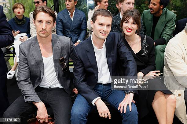 Actors Benn Northover and Hugo Becker with Jeanne Damas attend Cerruti Menswear Spring/Summer 2014 Show As Part Of The Paris Fashion Week held at...