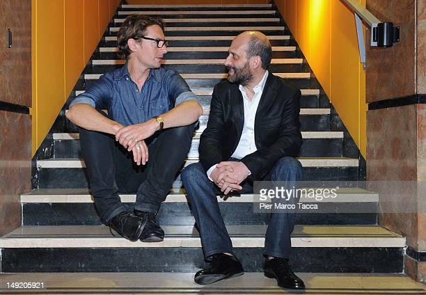 Actors Benn Northover and Sebastiano Filocamo attend Tutti i rumori del mare photocall at AnteoSpazioCinema on July 25 2012 in Milan Italy