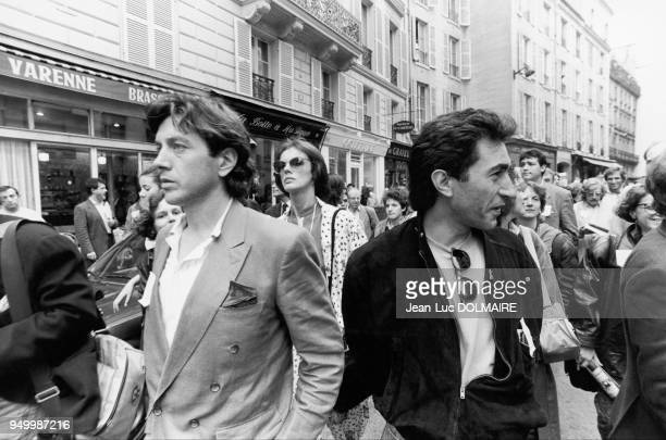 Actors Bernard GIRAUDEAU Richard BERRY and Annie DUPEREY among other artists demonstrating before Matignon on June 3 for the continuation of public...