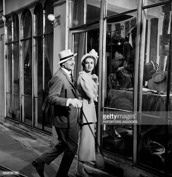 Actors Bernard Noël and Catherine Spaak On The Set Of The Movie 'La Ronde' - 'Circle of Love' - Directed By Roger Vadim, in Paris, France, in...