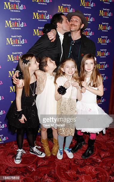 Actors Bertie Carvel with Paul Kaye and the 4 Matildas Cleo Demetriou Kerry Ingram Eleanor Worthington CoxSophia Kiely attend the Matilda Press Night...