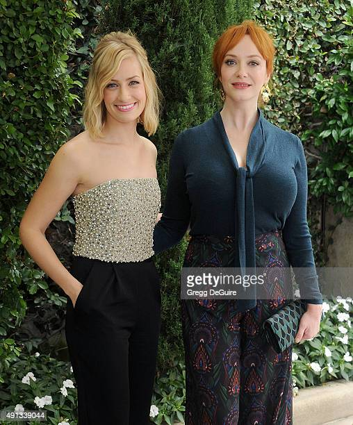 Actors Beth Behrs and Christina Hendricks arrive at The Rape Foundation's Annual Brunch at Greenacres The Private Estate of Ron Burkle on October 4...