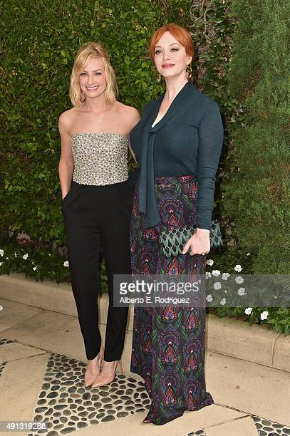 Actors Beth Behrs and Christina Hendricks attend The Rape Foundation's annual brunch at Greenacres The Private Estate of Ron Burkle on October 4 2015...