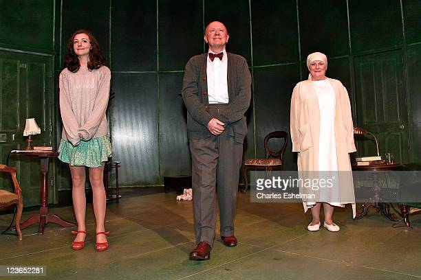 Actors Beth Cooke Niall Buggy and Brenda Blethyn take a bow at the opening night of Haunted at 59E59 Theaters on December 8 2010 in New York City
