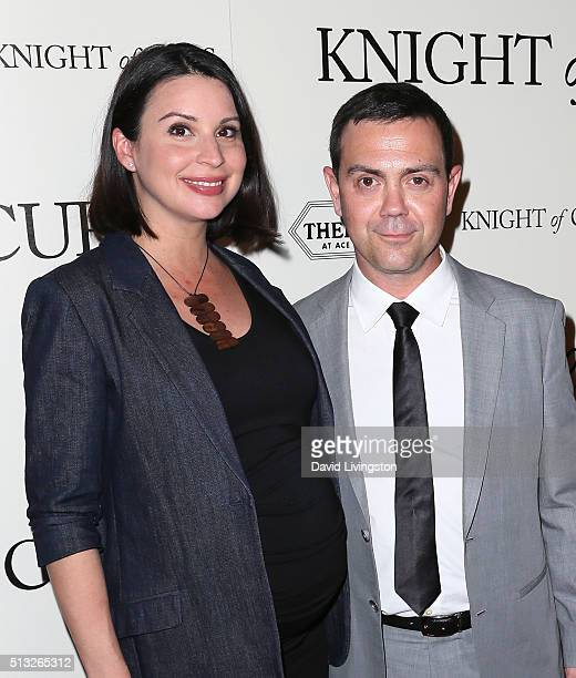 Actors Beth Dover and Joe Lo Truglio attend the premiere of Broad Green Pictures' 'Knight of Cups' at The Theatre at Ace Hotel on March 1 2016 in Los...