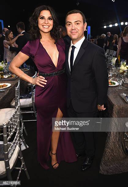 Actors Beth Dover and Joe Lo Truglio attend TNT's 21st Annual Screen Actors Guild Awards cocktail reception at The Shrine Auditorium on January 25...