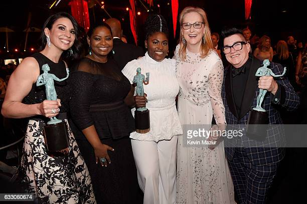 Actors Beth Dover Octavia Spencer Danielle Brooks Meryl Streep and Lea DeLaria pose during The 23rd Annual Screen Actors Guild Awards at The Shrine...