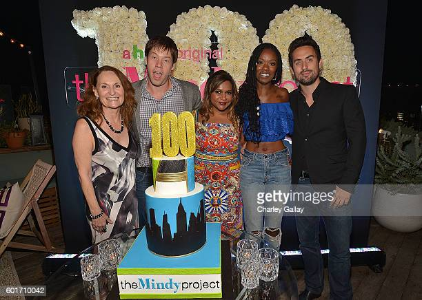 Actors Beth Grant Ike Barinholtz Mindy Kaling Xosha Roquemore and Ed Weeks attend The Mindy Project 100th Episode Party at EP LP on September 9 2016...