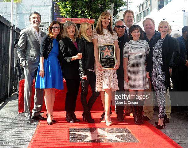 Actors Beth Hall Anna Faris Allison Janney Mimi Kennedy and Jaime Pressly with crew of 'Mom' at the Star ceremony held On The Hollywood Walk Of Fame...