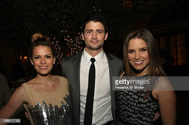 Actors Bethany Joy Galeotti James Lafferty and Sophia Bush attend the 'One Tree Hill' Final Season cocktail reception during the CW portion of the...