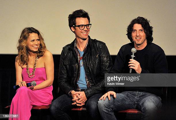 Actors Bethany Joy Galeotti Robert Buckley and creator Mark Schwahn appear at The CW's presentation of 'An Evening with One Tree Hill' at the...