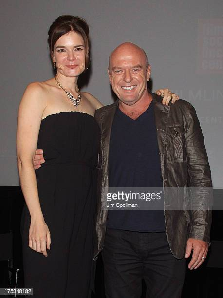 """Actors Betsy Brandt and Dean Norris attend the """"Breaking Bad"""" Panel Discussion at The Film Society of Lincoln Center on August 2, 2013 in New York..."""