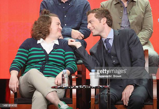 Actors Betsy Sodaro and Justin Kirk speak onstage at the 'Animal Practice' panel during day 4 of the NBCUniversal portion of the 2012 Summer TCA Tour...