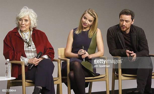 """Actors Betty Buckley, Anya Taylor Joy and James McAvoy attend Meet the Actor to discuss """"Split"""" at Apple Store Soho on January 19, 2017 in New York..."""