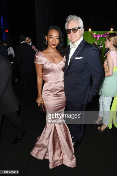 Actors Betty Gabriel and Bradley Whitford attend The 23rd Annual Critics' Choice Awards at Barker Hangar on January 11 2018 in Santa Monica California