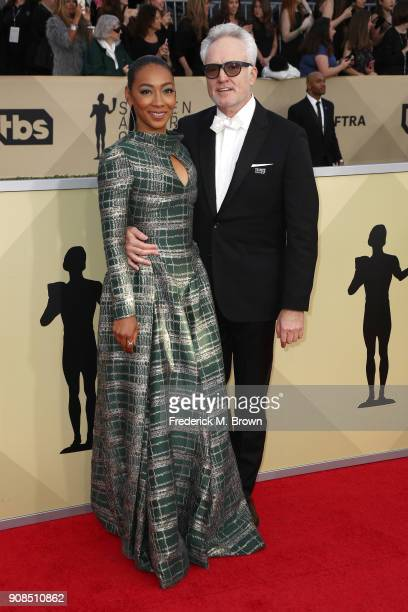Actors Betty Gabriel and Bradley Whitford attend the 24th Annual Screen Actors Guild Awards at The Shrine Auditorium on January 21 2018 in Los...