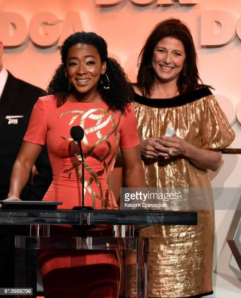 Actors Betty Gabriel and Catherine Keener speak onstage during the 70th Annual Directors Guild Of America Awards at The Beverly Hilton Hotel on...