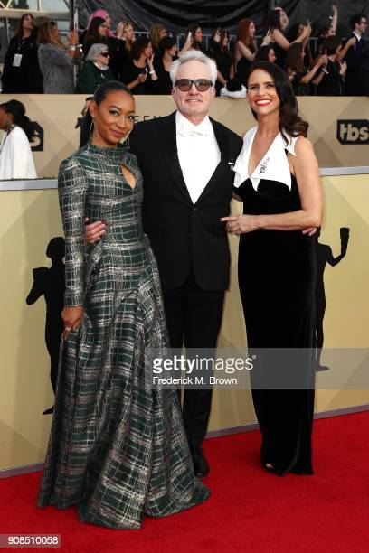 Actors Betty Gabriel Bradley Whitford and Amy Landecker attend the 24th Annual Screen Actors Guild Awards at The Shrine Auditorium on January 21 2018...
