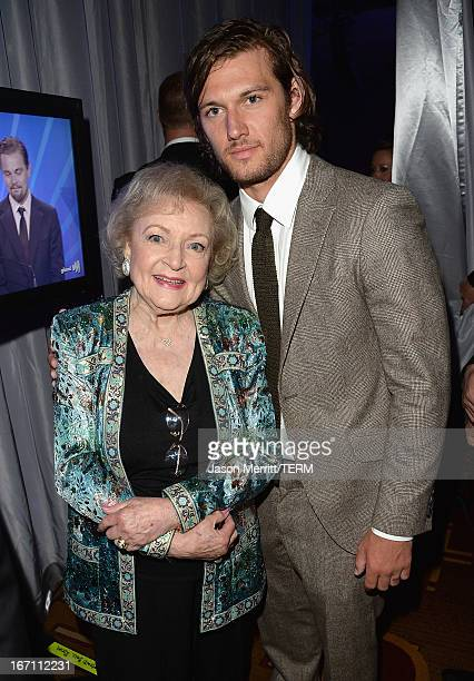 Actors Betty White and Alex Pettyfer attend the 24th Annual GLAAD Media Awards at JW Marriott Los Angeles at LA LIVE on April 20 2013 in Los Angeles...