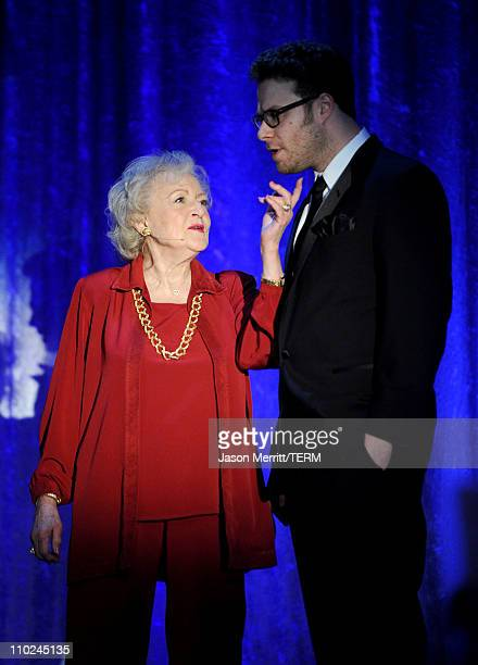 Actors Betty White and Seth Rogen speak onstage during the 19th annual A Night At Sardi's fundraiser and awards dinner benefitting the Alzheimer's...