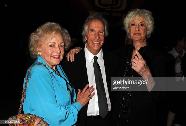 Actors Betty White Henry Winkler and Bea Arthur backstage at the 6th Annual TV Land Awards held at Barker Hangar on June 8 2008 in Santa Monica...