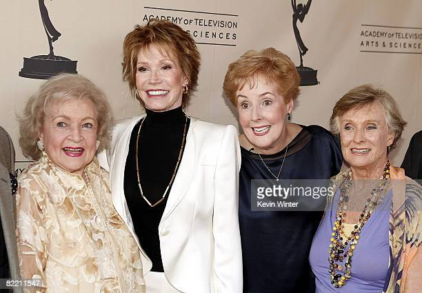 Actors Betty White Mary Tyler Moore Georgia Engel and Cloris Leachman pose at the Academy of Television Arts and Sciences celebrating Betty White's...