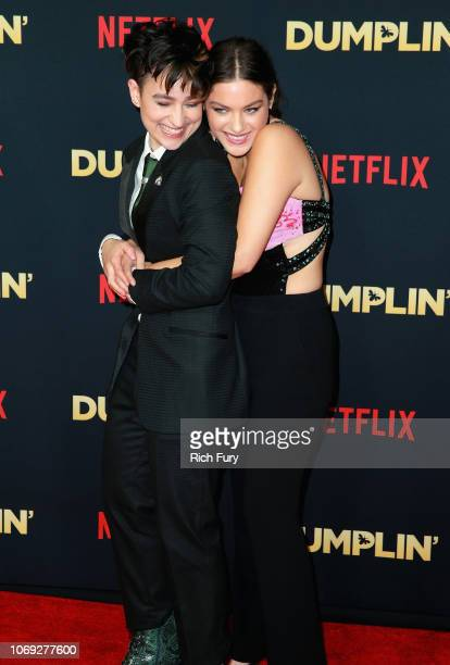 Actors Bex TaylorKlaus and Odeya Rush attend the premiere of Netflix's Dumplin' at TCL Chinese 6 Theatres on December 6 2018 in Hollywood California