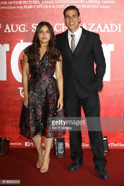 Actors Bhumi Pednekar and Akshay Kumar attending the 'Toilet Ek Prem Katha ' Photocall the worlds first feature film on the opendefecation crisis at...