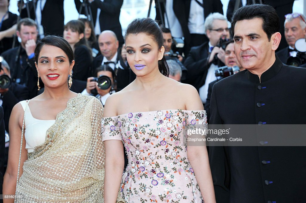 Actors Bhushan Kumar Aishwarya Rai and Darshan Kumaar attend the 'From The Land Of The Moon ' premiere during the 69th annual Cannes Film Fest