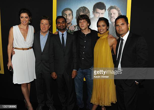 Actors Bianca Kajlich Nick Swardson Aziz Ansari Jesse Eisenberg Dilshad Vadsaria and Michael Pena arrive at the premiere of Columbia Pictures' 30...