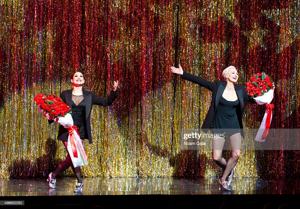 Actors Bianca Marroquin and Amra-Faye Wright perform at the 7,486th performance of 'Chicago', the second longest running Broadway show of all time at Ambassador Theater on November 23, 2014 in New York City.