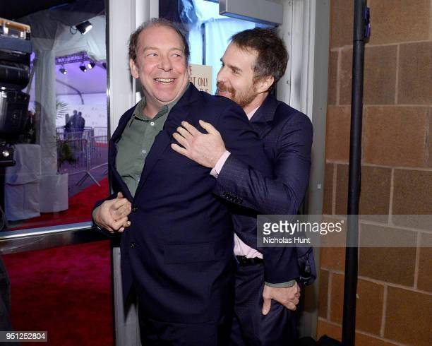 Actors Bill Camp and Sam Rockwell attend the Screening of Woman Walks Ahead 2018 Tribeca Film Festival at BMCC Tribeca PAC on April 25 2018 in New...