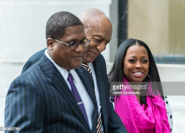 Actors Bill Cosby and Keshia Knight Pulliam are seen arriving for the first day of trial at Montgomery County Courthouse on June 5, 2017 in...