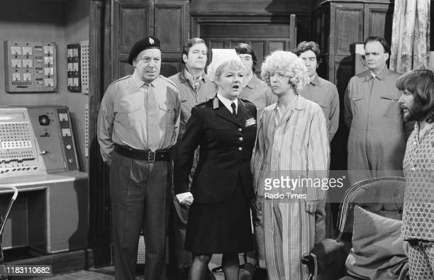 Actors Bill Fraser and Joan Sims with comedians Tim BrookeTaylor and Bill Oddie in a sketch from episode 'Way Outward Bound' of the BBC television...