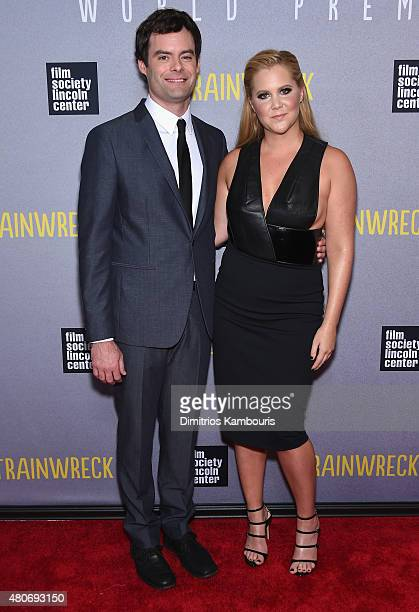 Actors Bill Hader and Amy Schumer attend the Trainwreck New York Premiere at Alice Tully Hall on July 14 2015 in New York City