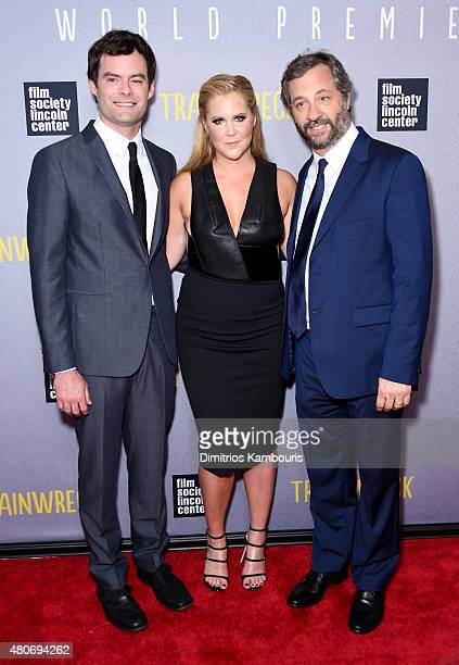 Actors Bill Hader and Amy Schumer with director Judd Apatow attend the Trainwreck New York Premiere at Alice Tully Hall on July 14 2015 in New York...