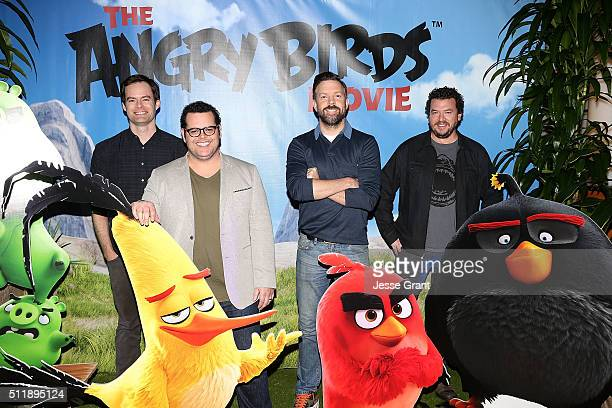 Actors Bill Hader Josh Gad Jason Sudeikis and Danny McBride attend a photo call and QA session for a 'Sneak Beak' of Columbia Pictures and Rovio...