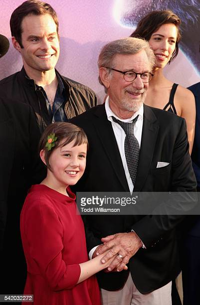 """Actors Bill Hader, Ruby Barnhill, director/producer Steven Spielberg and actress Rebecca Hall attend Disney's """"The BFG"""" premiere at the El Capitan..."""