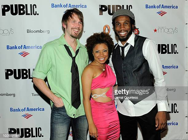 Actors Bill Heck Shalita Grant and Nyambi Nyambi attend the opening night celebration for The Winter's Tale at Shakespeare in the Park at the...
